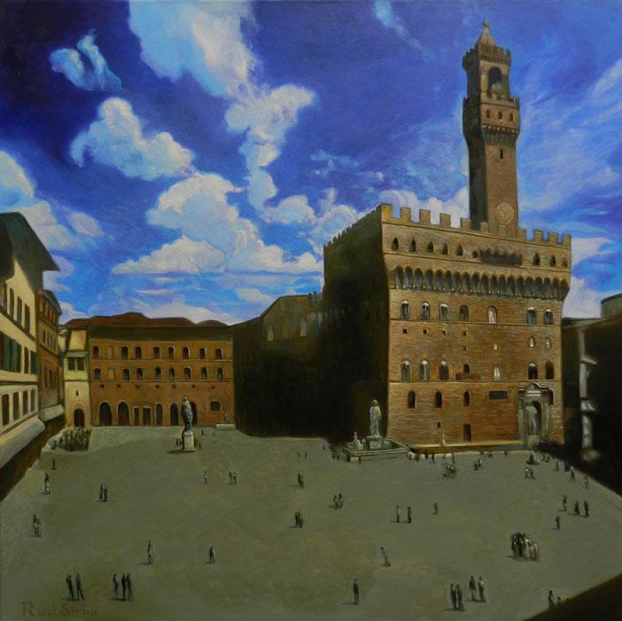 Piazza della Signoria, Firenze | Ulei pe pânză | 60x60 cm | 2015 | 700 Euro