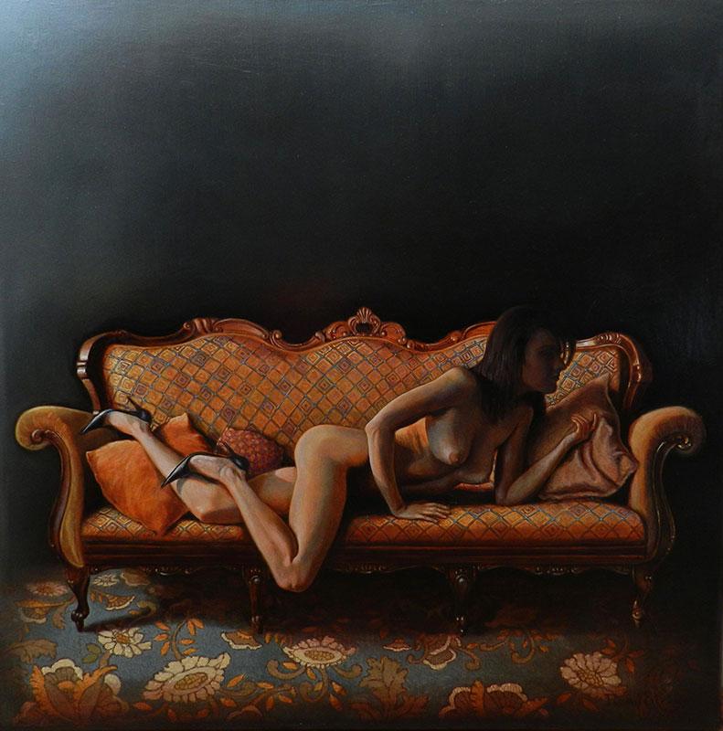 Nud pe canapea | Ulei pe pânză | 70 x 70 cm | 2015 | 900 EURO