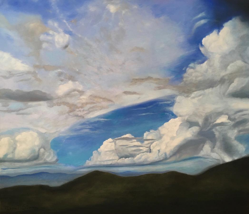 Nori peste dealuri | Ulei pe pânză | 60 x 70 cm | 2018 | 350 Euro