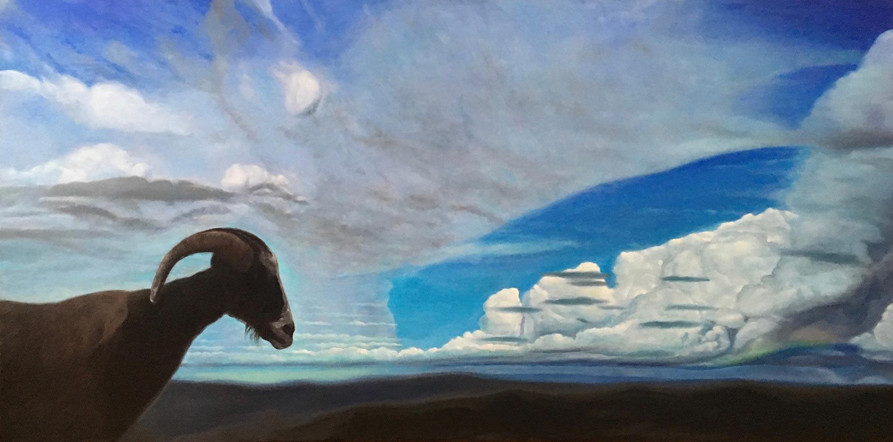 Cu capul în nori | Ulei pe pânză | 70 x 140 cm | 2018 | 1200 Euro