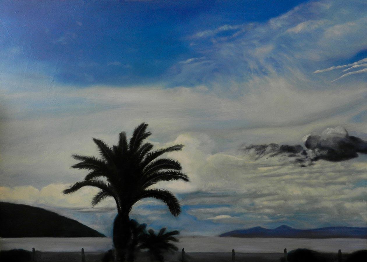 Palmier pe țărmul mării | ulei pe pânză | 50x70 cm | 2018 | 300 Euro