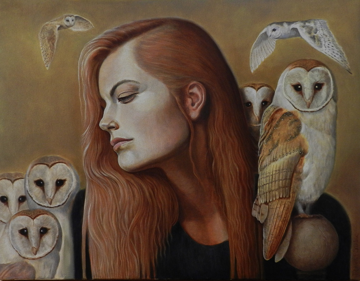 Dreaming Girl With Owls | Ulei pe pânză | 50 x 65 cm | 2020 | 1500 Euro