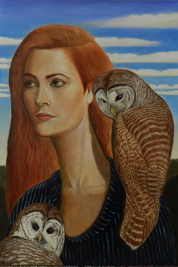 Long Neck Lady With Owls | Ulei pe pânză | 65 x 45 cm | 2020 | 1500 EURO